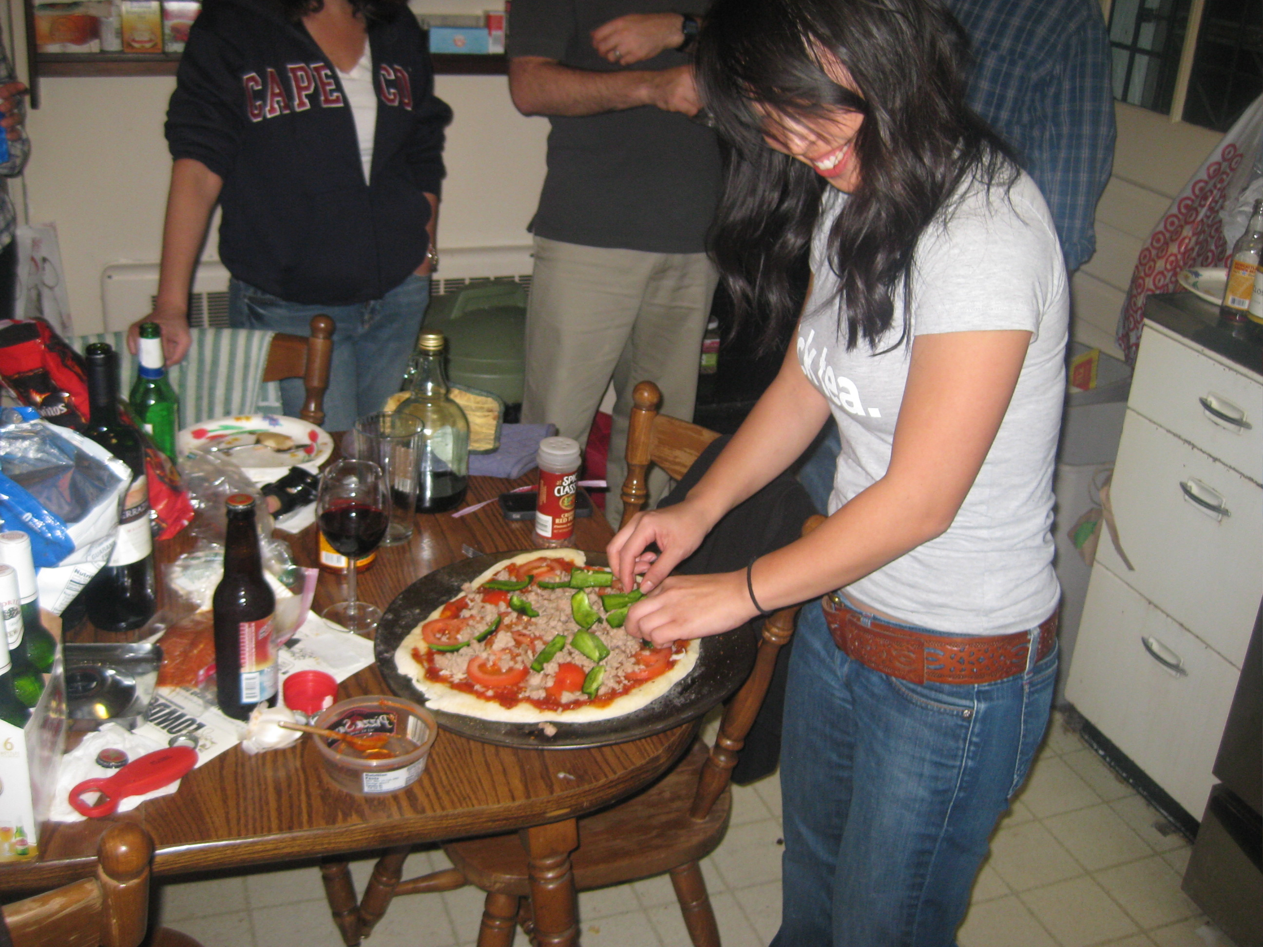 Sharon and pizza